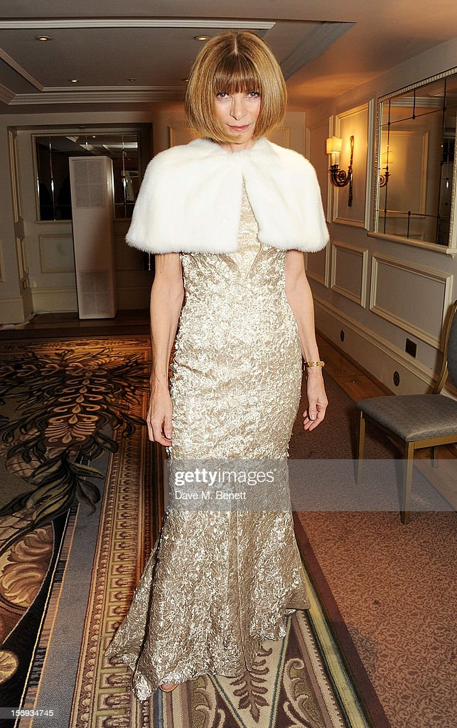 Anna Wintour attends a drinks reception at the 58th London Evening Standard Theatre Awards in association with Burberry at The Savoy Hotel on November 25, 2012 in London, England.