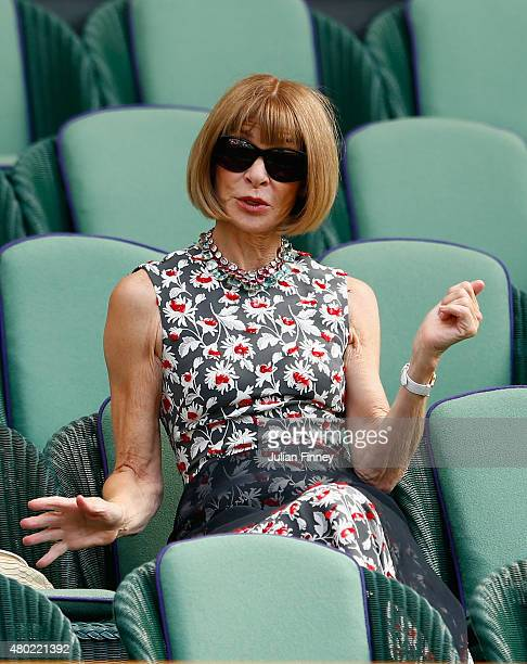 Anna Wintour attends day eleven of the Wimbledon Lawn Tennis Championships at the All England Lawn Tennis and Croquet Club on July 10 2015 in London...