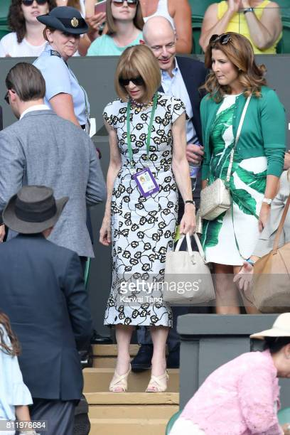 Anna Wintour attends day seven of the Wimbledon Tennis Championships at the All England Lawn Tennis and Croquet Club on July 10 2017 in London United...