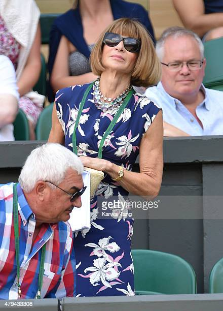 Anna Wintour attends day six of the Wimbledon Tennis Championships at Wimbledon on July 4 2015 in London England