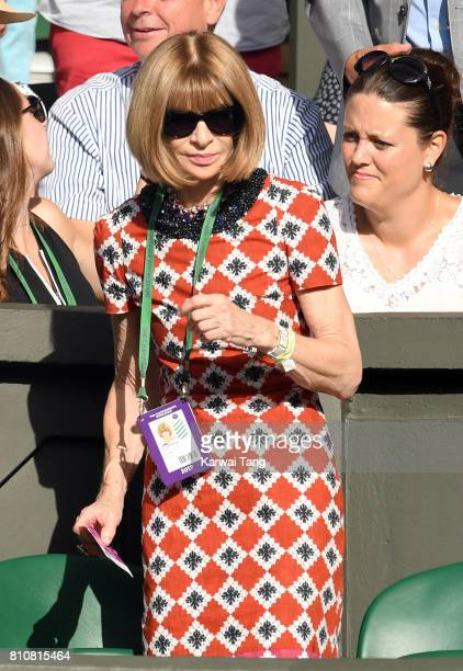 Anna Wintour attends day six of the Wimbledon Tennis Championships at the All England Lawn Tennis and Croquet Club on July 8 2017 in London United...