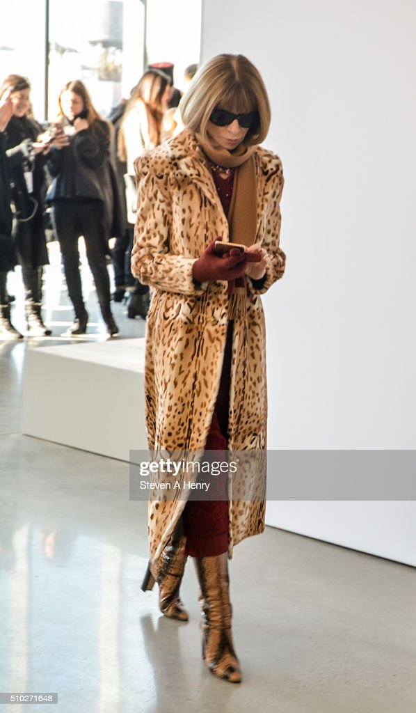 Anna Wintour attends J. Crew Presentation Fall 2016 at Spring Studios on February 14, 2016 in New York City.
