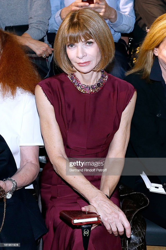 <a gi-track='captionPersonalityLinkClicked' href=/galleries/search?phrase=Anna+Wintour&family=editorial&specificpeople=202210 ng-click='$event.stopPropagation()'>Anna Wintour</a> attends Lanvin show as part of the Paris Fashion Week Womenswear Spring/Summer 2014, held at 'Ecole des beaux Arts on September 26, 2013 in Paris, France.
