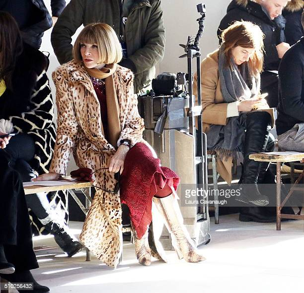 Anna Wintour attends Sies Marjan Front Row Fall 2016 New York Fashion Week at Ralph Walker Tribeca on February 14 2016 in New York City