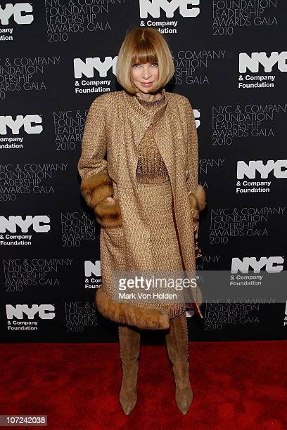 Anna Wintour attends the 2010 NYC Company Foundation Leadership Awards Gala Red Carpet at The Plaza Hotel on December 1 2010 in New York City
