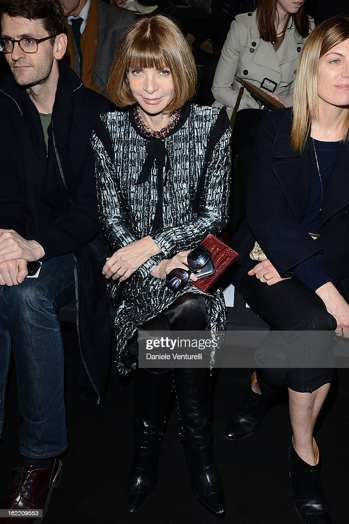 <a gi-track='captionPersonalityLinkClicked' href=/galleries/search?phrase=Anna+Wintour&family=editorial&specificpeople=202210 ng-click='$event.stopPropagation()'>Anna Wintour</a> attends the Alberta Ferretti fashion show as part of Milan Fashion Week Womenswear Fall/Winter 2013/14 on February 20, 2013 in Milan, Italy.