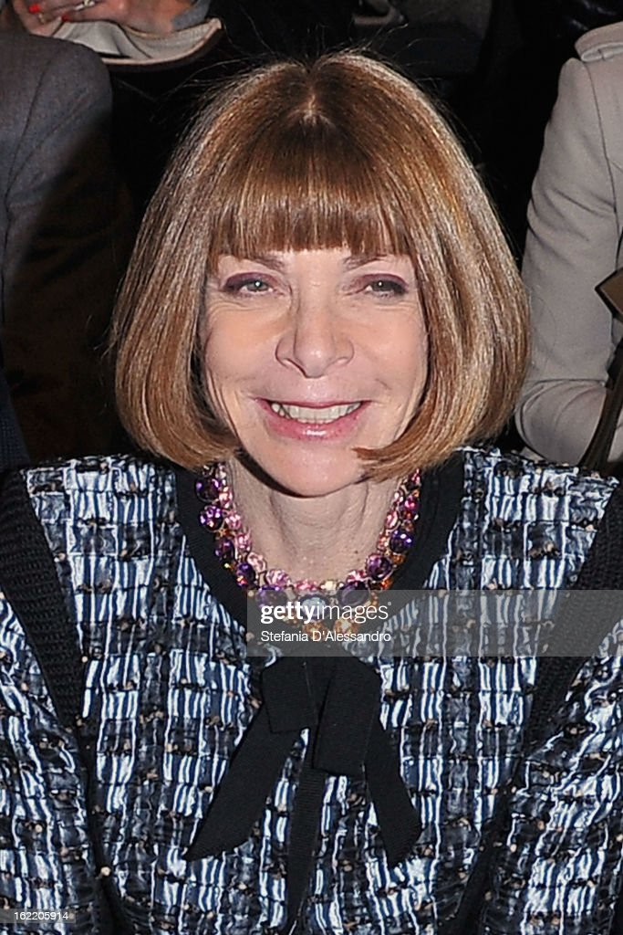 Anna Wintour attends the Alberta Ferretti fashion show during Milan Fashion Week Womenswear Fall/Winter 2013/14 on February 20, 2013 in Milan, Italy.