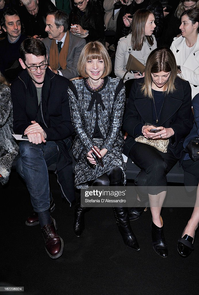 <a gi-track='captionPersonalityLinkClicked' href=/galleries/search?phrase=Anna+Wintour&family=editorial&specificpeople=202210 ng-click='$event.stopPropagation()'>Anna Wintour</a> attends the Alberta Ferretti fashion show during Milan Fashion Week Womenswear Fall/Winter 2013/14 on February 20, 2013 in Milan, Italy.