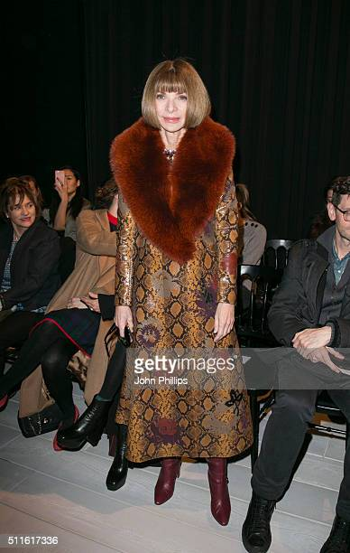 Anna Wintour attends the Alexander McQueen show during London Fashion Week Autumn/Winter 2016/17 at Lawrence Hall on February 21 2016 in London...
