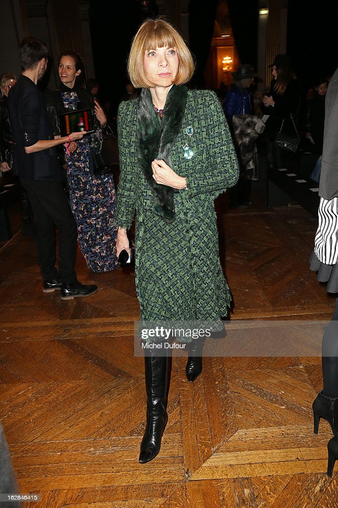 <a gi-track='captionPersonalityLinkClicked' href=/galleries/search?phrase=Anna+Wintour&family=editorial&specificpeople=202210 ng-click='$event.stopPropagation()'>Anna Wintour</a> attends the Balmain Fall/Winter 2013 Ready-to-Wear show as part of Paris Fashion Week on February 28, 2013 in Paris, France.