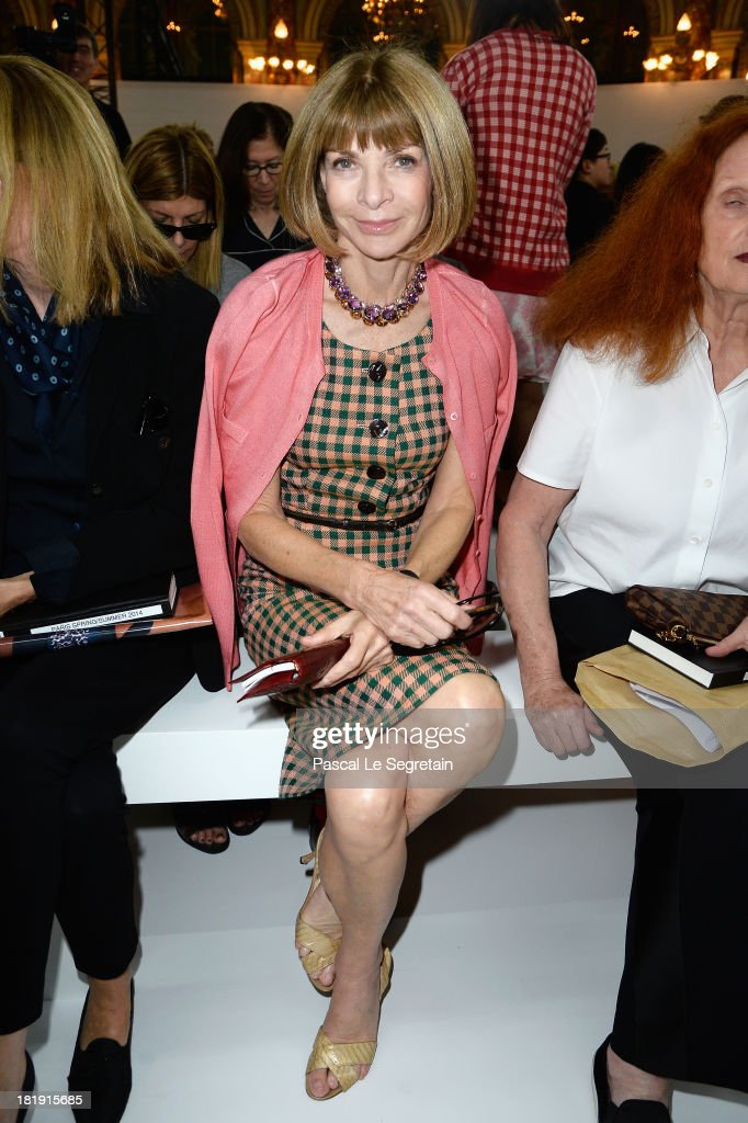 <a gi-track='captionPersonalityLinkClicked' href=/galleries/search?phrase=Anna+Wintour&family=editorial&specificpeople=202210 ng-click='$event.stopPropagation()'>Anna Wintour</a> attends the Balmain show as part of the Paris Fashion Week Womenswear Spring/Summer 2014 at Grand Hotel Intercontinental on September 26, 2013 in Paris, France.