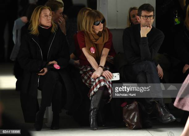Anna Wintour attends the Brock Collection fashion show during New York Fashion Week The Shows at Gallery 3 Skylight Clarkson Sq on February 9 2017 in...