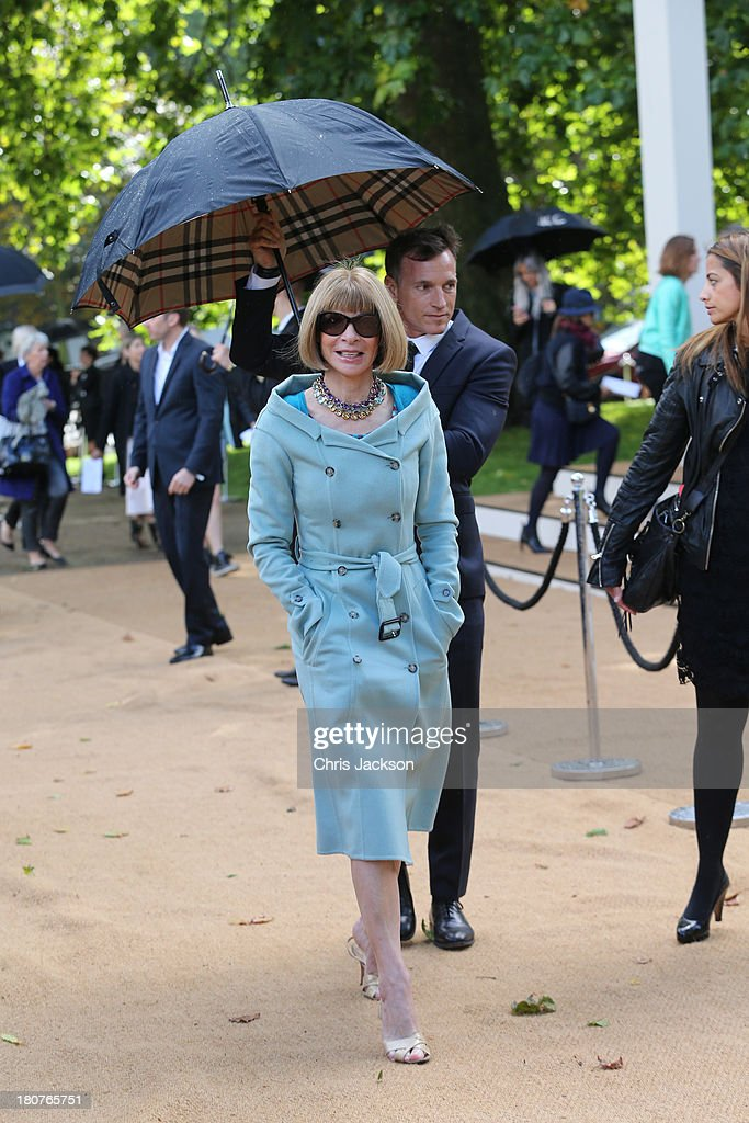 Anna Wintour attends the Burberry Prorsum show at London Fashion Week SS14 at Kensington Gardens on September 16, 2013 in London, England.
