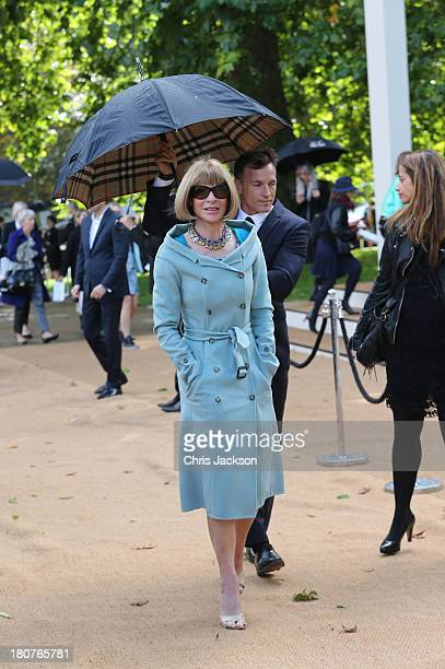 Anna Wintour attends the Burberry Prorsum show at London Fashion Week SS14 at Kensington Gardens on September 16 2013 in London England