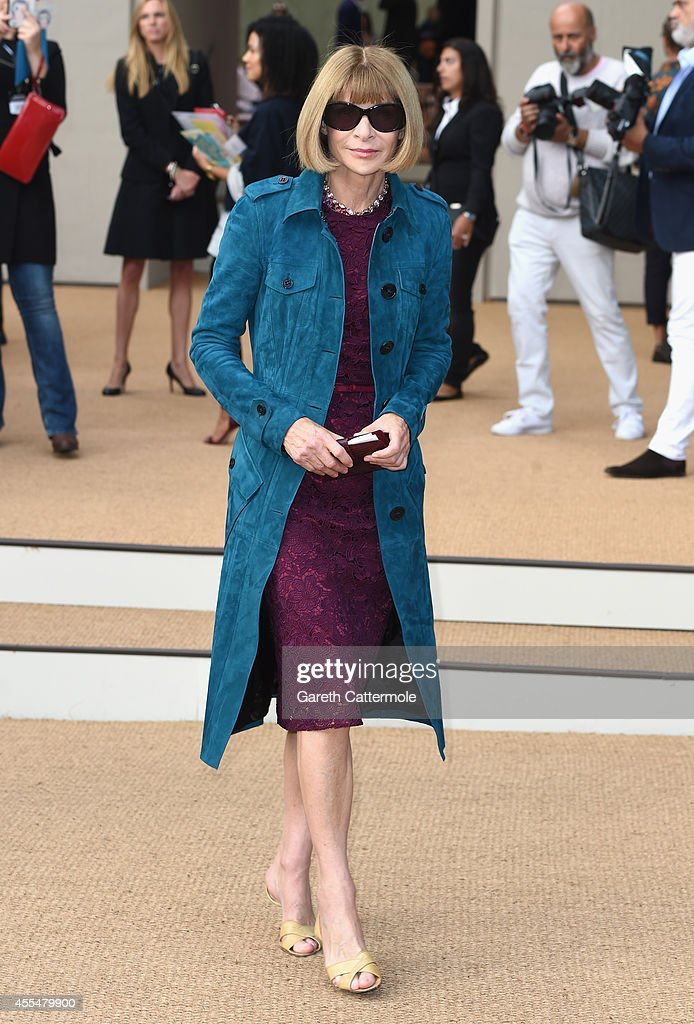Anna Wintour attends the Burberry Womenswear SS15 show during London Fashion Week at Kensington Gardens on September 15, 2014 in London, England.