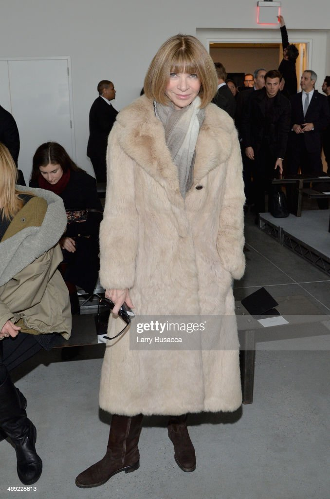 <a gi-track='captionPersonalityLinkClicked' href=/galleries/search?phrase=Anna+Wintour&family=editorial&specificpeople=202210 ng-click='$event.stopPropagation()'>Anna Wintour</a> attends the Calvin Klein Collection fashion show during Mercedes-Benz Fashion Week Fall 2014 at Spring Studios on February 13, 2014 in New York City.