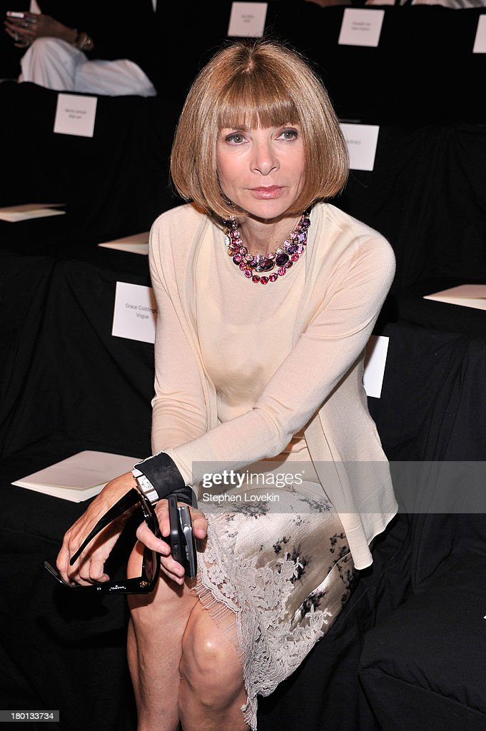 <a gi-track='captionPersonalityLinkClicked' href=/galleries/search?phrase=Anna+Wintour&family=editorial&specificpeople=202210 ng-click='$event.stopPropagation()'>Anna Wintour</a> attends the Carolina Herrera fashion show during Mercedes-Benz Fashion Week Spring 2014 at The Theatre at Lincoln Center on September 9, 2013 in New York City.