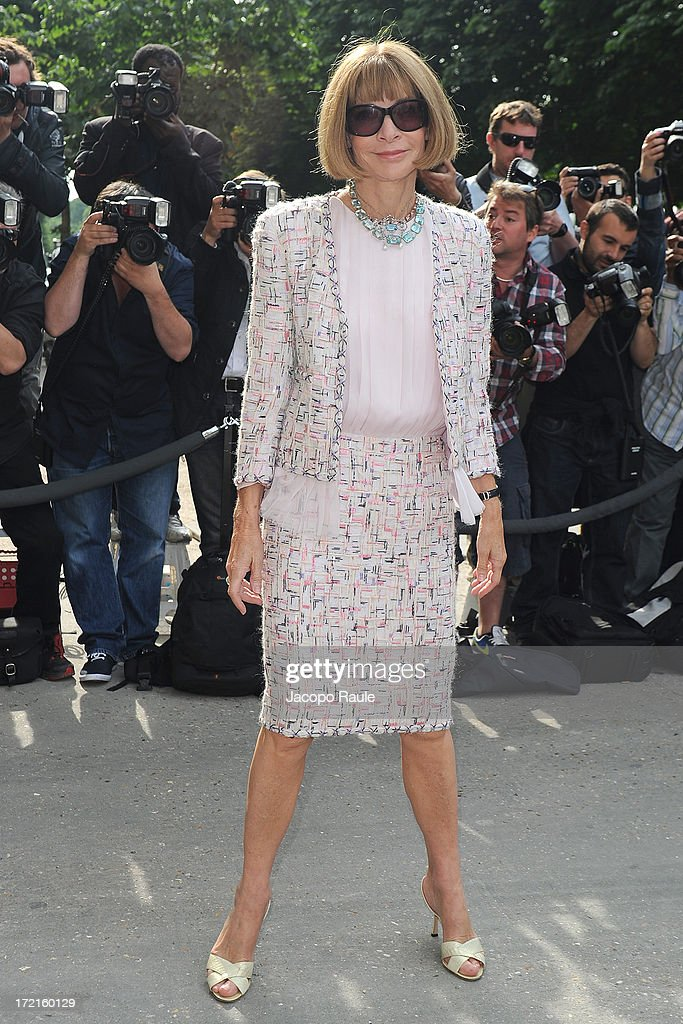 Anna Wintour attends the Chanel show as part of Paris Fashion Week Haute-Couture Fall/Winter 2013-2014 at Grand Palais on July 2, 2013 in Paris, France.