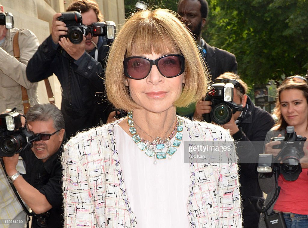<a gi-track='captionPersonalityLinkClicked' href=/galleries/search?phrase=Anna+Wintour&family=editorial&specificpeople=202210 ng-click='$event.stopPropagation()'>Anna Wintour</a> attends the Chanel show as part of Paris Fashion Week Haute-Couture Fall/Winter 2013-2014 at the Grand Palais on July 2, 2013 in Paris, France.