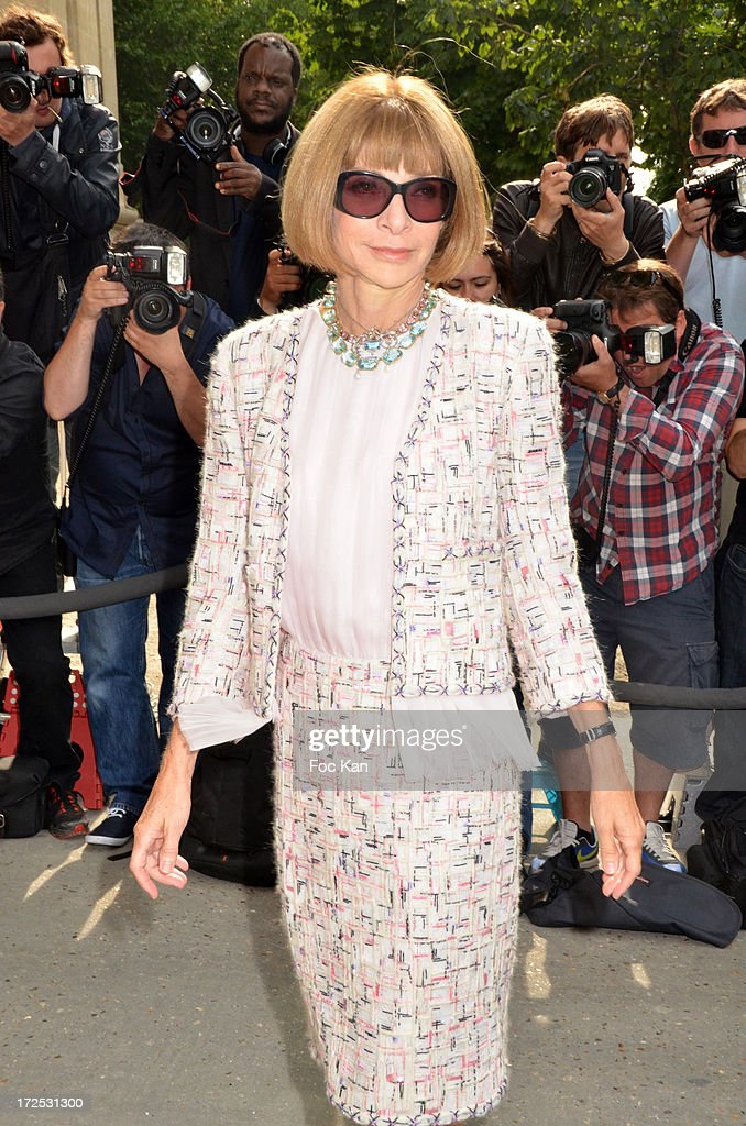 Anna Wintour attends the Chanel show as part of Paris Fashion Week Haute-Couture Fall/Winter 2013-2014 at the Grand Palais on July 2, 2013 in Paris, France.
