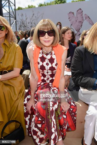 Anna Wintour attends the Christian Dior Haute Couture Fall/Winter 20172018 show as part of Haute Couture Paris Fashion Week on July 3 2017 in Paris...