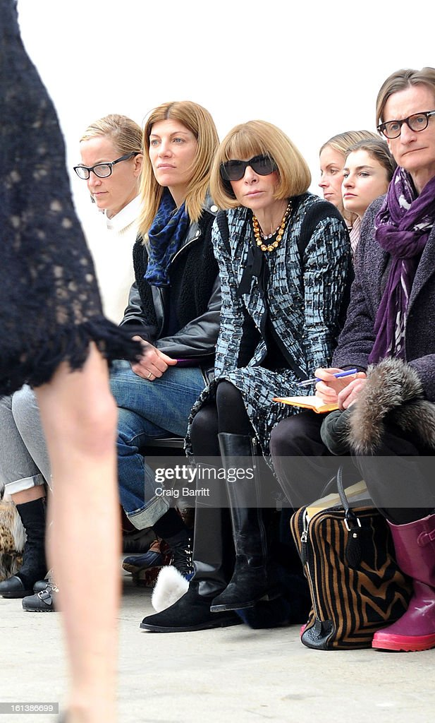 <a gi-track='captionPersonalityLinkClicked' href=/galleries/search?phrase=Anna+Wintour&family=editorial&specificpeople=202210 ng-click='$event.stopPropagation()'>Anna Wintour</a> (C) attends the Derek Lam fall 2013 fashion show during Mercedes-Benz Fashion Week at Sean Kelly Gallery on February 10, 2013 in New York City.