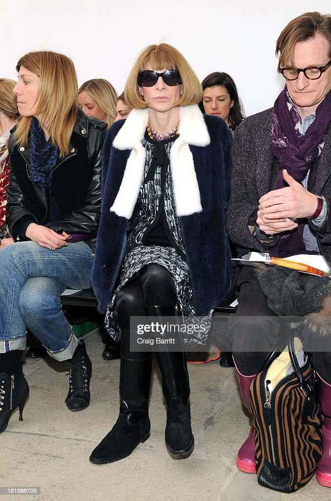 <a gi-track='captionPersonalityLinkClicked' href=/galleries/search?phrase=Anna+Wintour&family=editorial&specificpeople=202210 ng-click='$event.stopPropagation()'>Anna Wintour</a> attends the Derek Lam fall 2013 fashion show during Mercedes-Benz Fashion Week at Sean Kelly Gallery on February 10, 2013 in New York City.