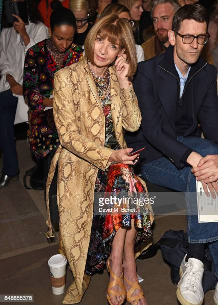 Anna Wintour attends the Erdem catwalk show during London Fashion Week at The Old Selfridges Hotel on September 18 2017 in London England