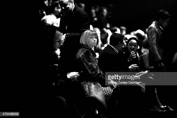 Anna Wintour attends the Fausto Puglisi show as part of Milan Fashion Week Womenswear Autumn/Winter 2014 on February 19 2014 in Milan Italy