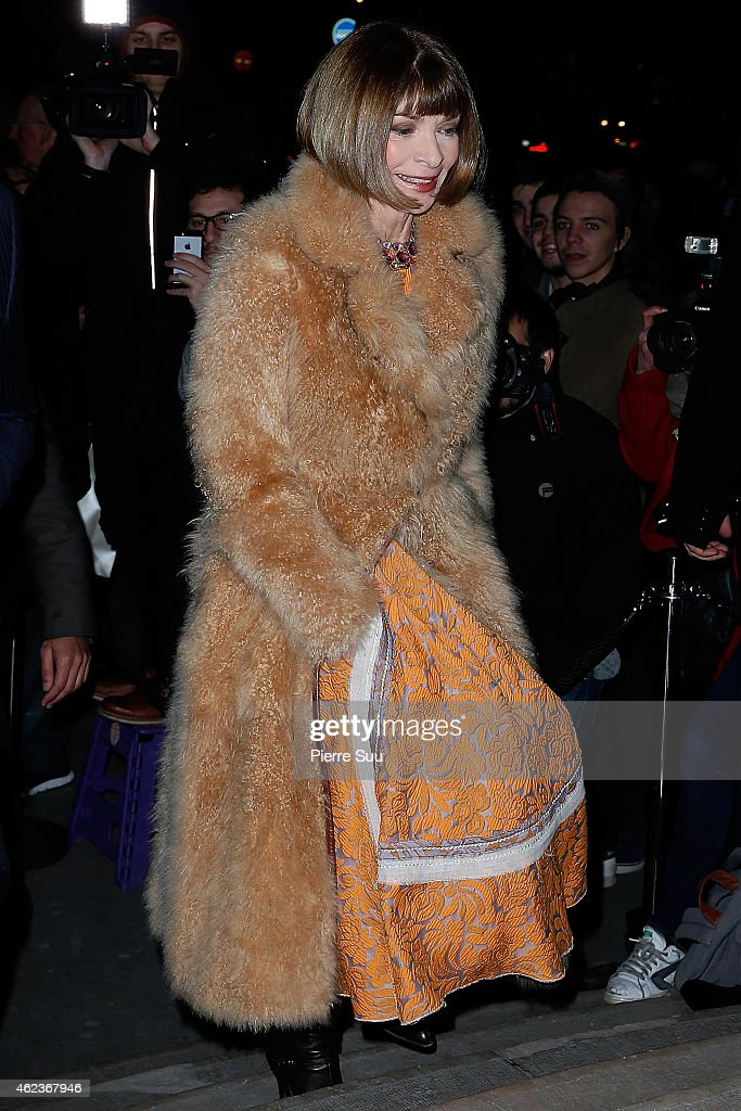 Anna Wintour attends the Giorgio Armani Prive show as part of Paris fashion week Haute Couture Spring/Summer 2015 on January 27 2015 in Paris France
