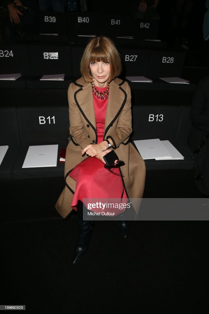 <a gi-track='captionPersonalityLinkClicked' href=/galleries/search?phrase=Anna+Wintour&family=editorial&specificpeople=202210 ng-click='$event.stopPropagation()'>Anna Wintour</a> attends the Giorgio Armani Prive Spring/Summer 2013 Haute-Couture show as part of Paris Fashion Week at Theatre National de Chaillot on January 22, 2013 in Paris, France.