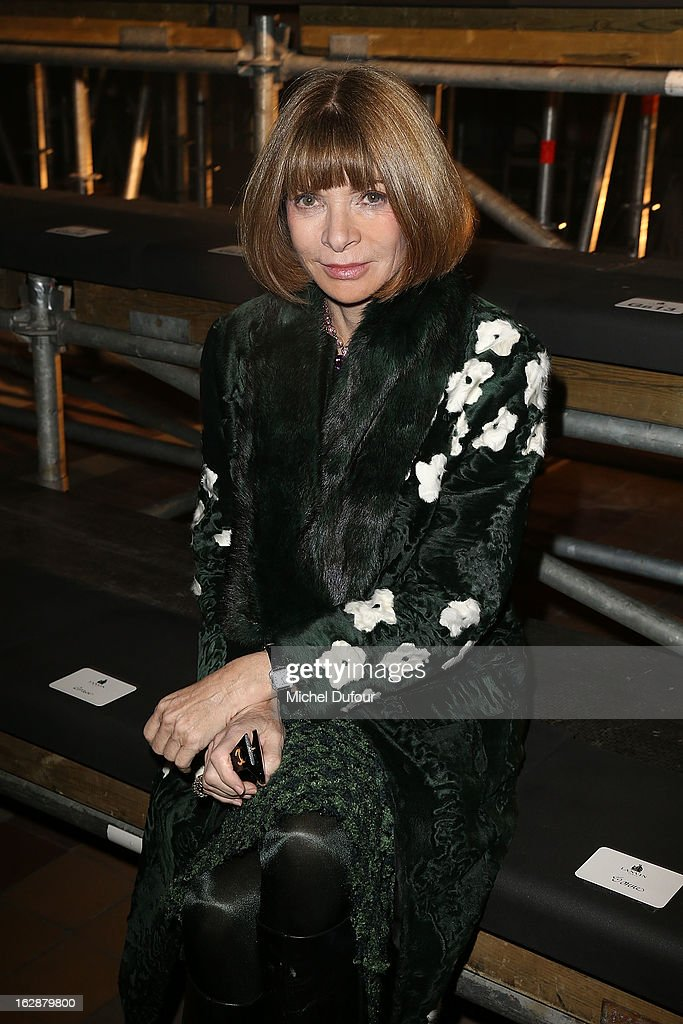 <a gi-track='captionPersonalityLinkClicked' href=/galleries/search?phrase=Anna+Wintour&family=editorial&specificpeople=202210 ng-click='$event.stopPropagation()'>Anna Wintour</a> attends the Lanvin Fall/Winter 2013 Ready-to-Wear show as part of Paris Fashion Week on February 28, 2013 in Paris, France.