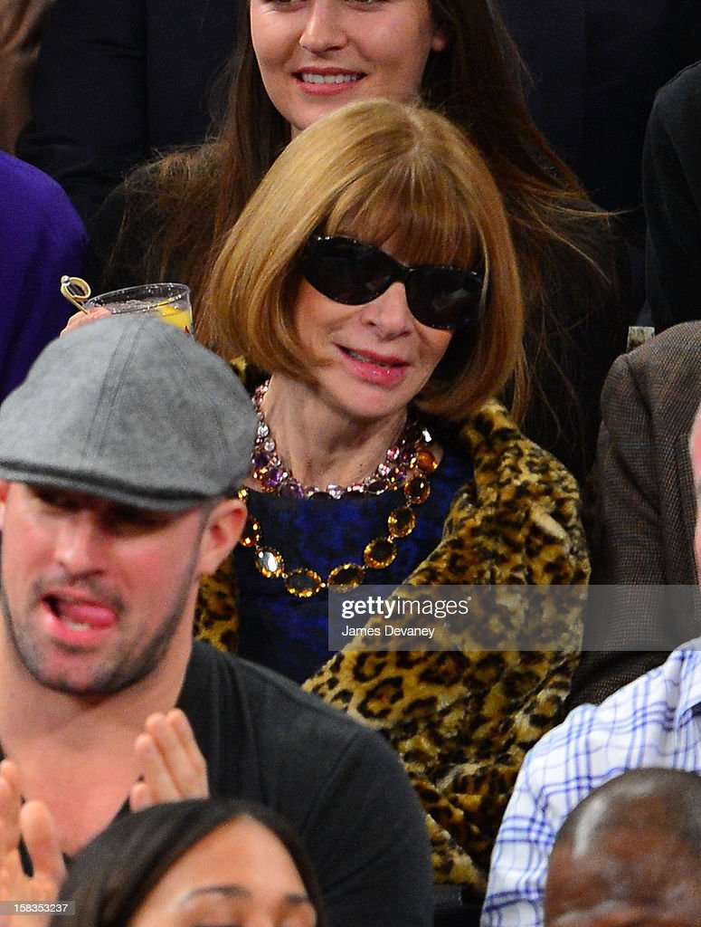 Anna Wintour attends the Los Angeles Lakers vs New York Knicks game at Madison Square Garden on December 13, 2012 in New York City.