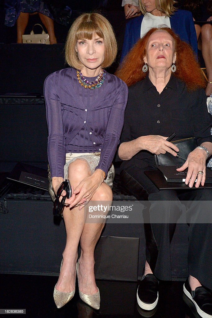 <a gi-track='captionPersonalityLinkClicked' href=/galleries/search?phrase=Anna+Wintour&family=editorial&specificpeople=202210 ng-click='$event.stopPropagation()'>Anna Wintour</a> attends the Louis Vuitton show as part of the Paris Fashion Week Womenswear Spring/Summer 2014 on October 2, 2013 in Paris, France.