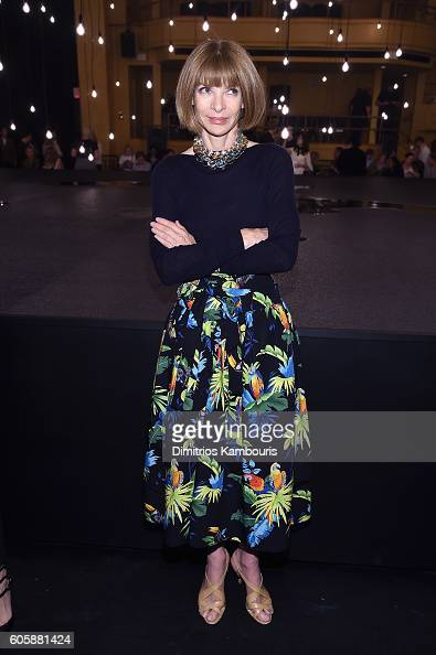 Anna Wintour attends the Marc Jacobs Spring 2017 fashion show front row during New York Fashion Week at the Hammerstein Ballroom on September 15 2016...