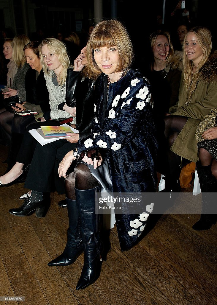 Anna Wintour attends the Matthew Williamson show during London Fashion Week Fall/Winter 2013/14 Anna Wintour at on February 17, 2013 in London, England.