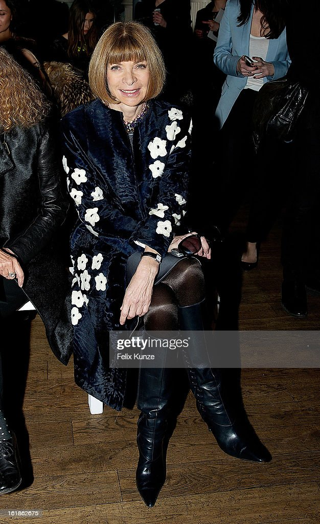 Anna Wintour attends the Matthew Williamson show during London Fashion Week Fall/Winter 2013/14 on February 17, 2013 in London, England.