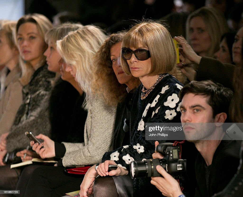 <a gi-track='captionPersonalityLinkClicked' href=/galleries/search?phrase=Anna+Wintour&family=editorial&specificpeople=202210 ng-click='$event.stopPropagation()'>Anna Wintour</a> attends the Matthew Williamson show during London Fashion Week Fall/Winter 2013/14 on February 17, 2013 in London, England.