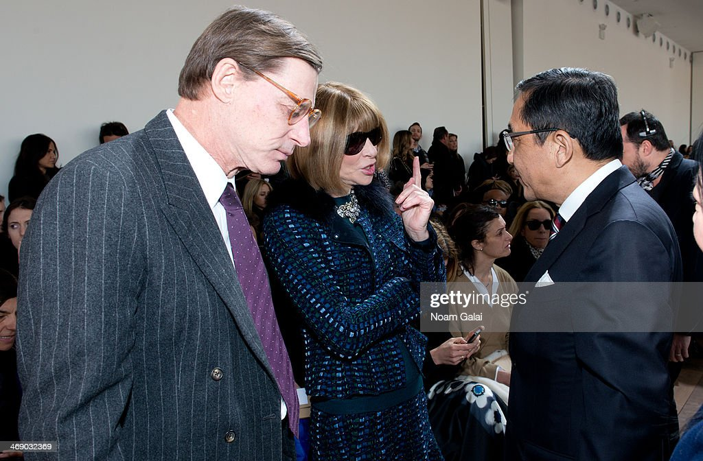 <a gi-track='captionPersonalityLinkClicked' href=/galleries/search?phrase=Anna+Wintour&family=editorial&specificpeople=202210 ng-click='$event.stopPropagation()'>Anna Wintour</a> (C) attends the Michael Kors Show during Mercedes-Benz Fashion Week Fall 2014 at Spring Studios on February 12, 2014 in New York City.