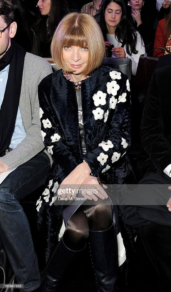 Anna Wintour attends the Mulberry Autumn Winter 2013 show during London Fashion Week at Claridge's Hotel on February 17, 2013 in London, England.