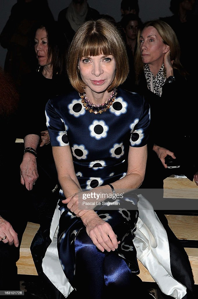 Anna Wintour attends the Saint Laurent Fall/Winter 2013 Ready-to-Wear show as part of Paris Fashion Week on March 4, 2013 in Paris, France.