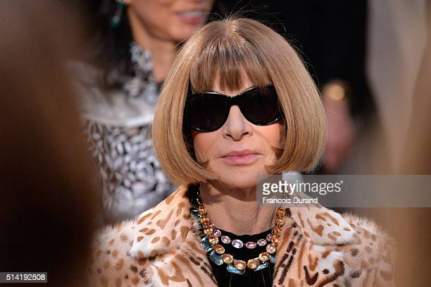 Anna Wintour attends the Saint Laurent show as part of the Paris Fashion Week Womenswear Fall/Winter 2016/2017 on March 7 2016 in Paris France
