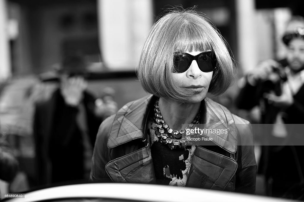 <a gi-track='captionPersonalityLinkClicked' href=/galleries/search?phrase=Anna+Wintour&family=editorial&specificpeople=202210 ng-click='$event.stopPropagation()'>Anna Wintour</a> attends the Salvatore Ferragamo show during the Milan Fashion Week Autumn/Winter 2015 on March 1, 2015 in Milan, Italy.