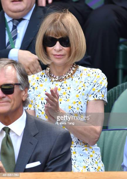 Anna Wintour attends the semifinal match between Noval Djokovic and Grigor Dimitrov on centre court at The Wimbledon Championships at Wimbledon on...