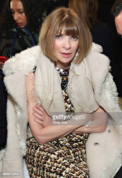 Anna Wintour attends the Tory Burch fashion show during MercedesBenz Fashion Week Fall 2015 at 583 Park Avenue on February 17 2015 in New York City