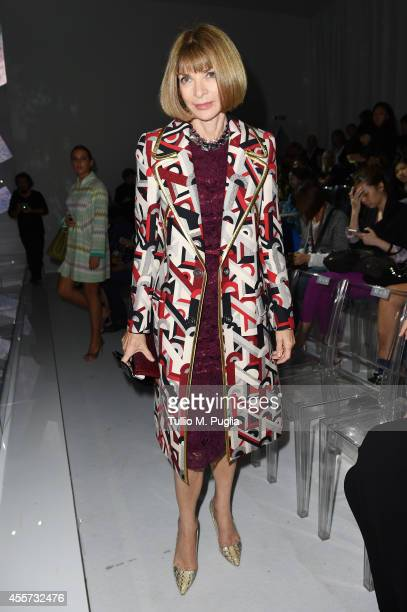 Anna Wintour attends the Versace show during the Milan Fashion Week Womenswear Spring/Summer 2015 on September 19 2014 in Milan Italy