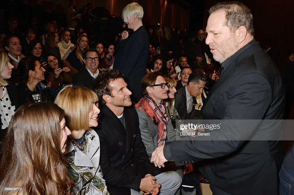 Anna Wintour, Bradley Cooper Hamish Bowles and Harvey Weinstein attend the front row at Burberry Womenswear Autumn/Winter 2014 at Kensington Gardens on February 17, 2014 in London, England.