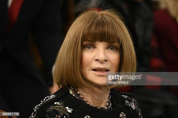 Anna Wintour during the Chanel Spring Summer 2017 show as part of Paris Fashion Week on January 24 2017 in Paris France