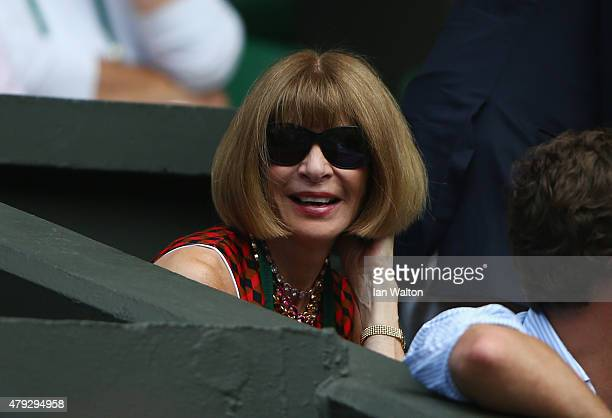 Anna Wintour editor of American Vogue watches on Centre court during day four of the Wimbledon Lawn Tennis Championships at the All England Lawn...