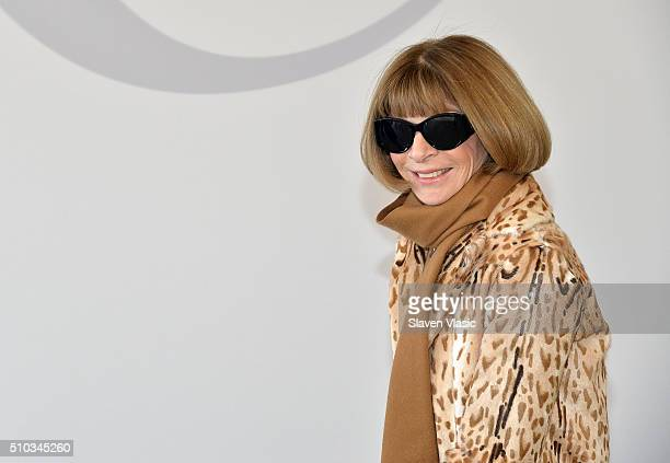 Anna Wintour editorinchief of American Vogue attends JCrew presentation during Fall 2016 New York Fashion Week at Spring Studios on February 14 2016...